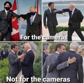 G7 face caméras et hors caméras : la farce du covid